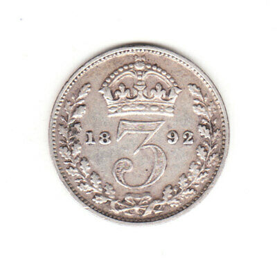 1892 Great Britain Queen Victoria Sterling Silver Threepence.