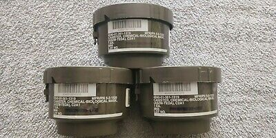 3 new and sealed C2A1 M44 gas mask filters 40mm. Free USPS Priority Shipping.