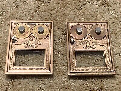 2 Antique Corbin Brass Post Office Box Double Combination Door Eagle Nice