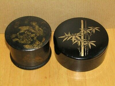 Antique Japan/ Chinese Black & Gold Papier Mache Lacquered Round Trinket/Box/Pot