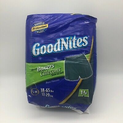 GoodNites Sleep Boxers Boys S/M 38-65 lbs 14 Count Pack