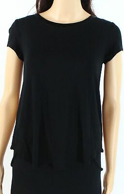 Alfani Womens Top Rich Black Size XL Scoop-Neck High Low Stretch Knit $34 369