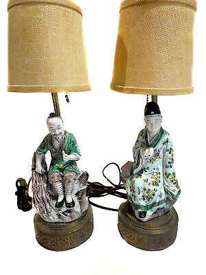 CHINESE Porcelain FIGURES Lamps ANTIQUE Famille VERTE 19th CENTURY
