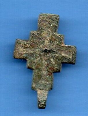 Russia Kiev type Bronze Cross Pendant Viking time 10-12th ca 1100 AD RARE 327