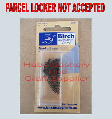 Birch Hooks And Eyes 12 Sets 1 Packet Rust Proof Black Metal 7Mm (0)