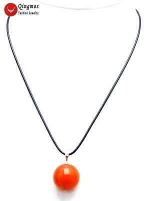 """20mm Round China Red Natural Jade Pendant Necklace for Women 17-18"""" Cord nec5967"""