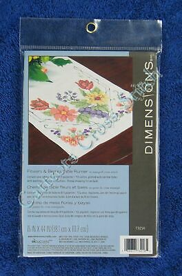 """Stamped Cross Stitch Flowers & Berries Table Runner 15"""" x 44"""" Easy Dimensions"""