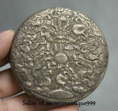 7.5CM Old China Miao Silver Dynasty Palace Dragons Loong Ball jewelry Box Case