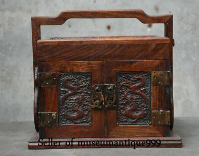"11.2"" Old Chinese Huanghuali Wood Dynasty Dragon drawer jewelry Box Cabinet"