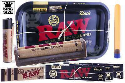 RAW BLACK 10pc Ultimate Bundle-Tray+King Papers+Tips+2 Way Roller+Lighter+Tube