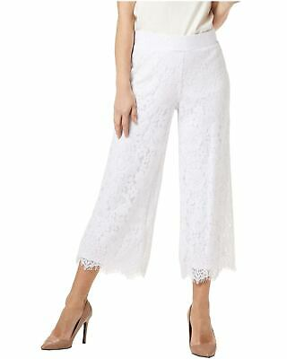 Isaac Mizrahi Live! Womens Floral Lace Knit Culotte Pants Small White A353075