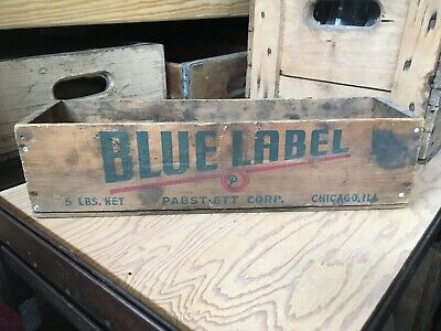 Vintage Wooden Cheese Box Pabst Ett Blue Label 5 Lb Wood Crate Chicago Illinois
