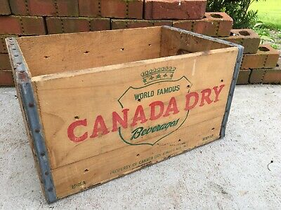 Vintage Wooden Soda Crate Canada Dry Wood Pop Box World Famous 1952 Ginger Ale