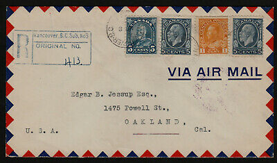 Reg. Air Mail Cover -1938- 16c. - Vancouver, B.C. to Oakland, California U.S.A.
