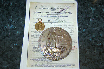 WW1 Death Plaque & Victory medal 1st Bn Lone Pine Gallipoli casualty, Sgt Ingram