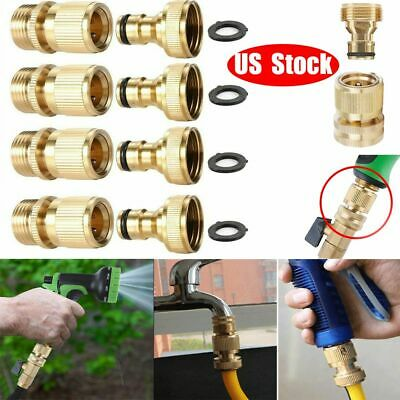 "4 Sets 3/4"" Garden Hose Quick Connect Water Hose Fit Brass Female Male Connector"