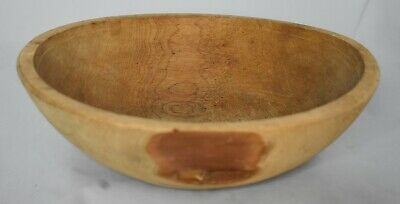 Hand carved Wooden Bowl 3 1/8 inch tall not symmetrical shows Knots