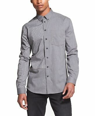 DKNY Mens Shirt Gray Size Medium M Button Down Striped Patchwork $89 053
