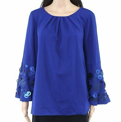 Alfani Womens Blouse Blue Size Small S Embellished Applique Bell-Sleeve $99 340