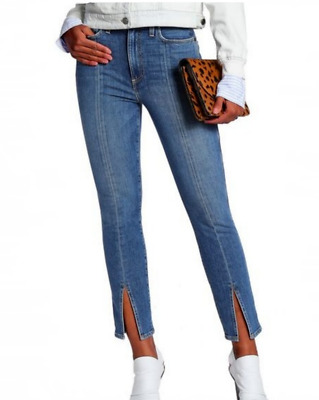 Alice + Olivia Good High Rise Ankle Slit Skinny Jeans in Sweet Emotion Size 24