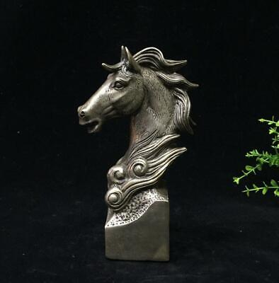Old China palace decorations copper silver plated horse head statue /Wd02