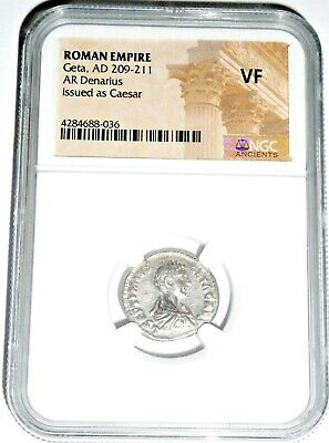 Roman Silver Geta Antoninianus Coin NGC Certified VF With Story,Certificate