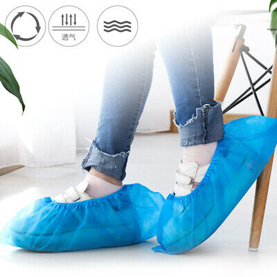 100pcs Non-woven Boot Cover Disposable Shoe Cover Indoor Overshoes One Size Blue