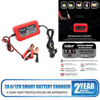 12 Volt 2 Amp 12V 6V Automatic Intelligent Battery Charger Trickle Fast Car Van