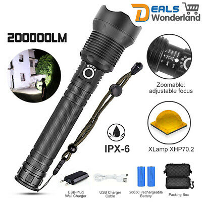 200000LM Super Bright Led Flashlight xhp70 xhp50 torch 26650 Rechargeable