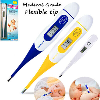 LCD Digital Medical Flexible Tip Thermometer Baby Adult Oral Mouth Rectal Audibl