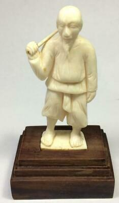 1950 Antique Chinese Statue Figure Laborer Hand Made Wooden Stand Home Decor