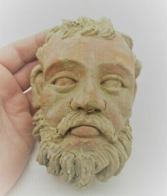 Circa 200 - 300 Ad Ancient Gandhara Stucco Statue Fragment Head Of Buddha