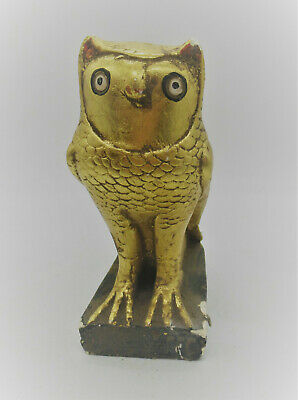 Beautiful Antique Egyptian Gold Gilded Limestone Statuette Horus As An Owl