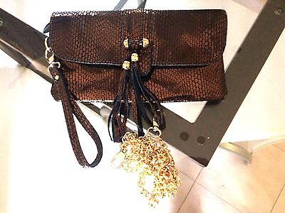 Handbag Pouch Evening Marriage Brown with Chain White Gold