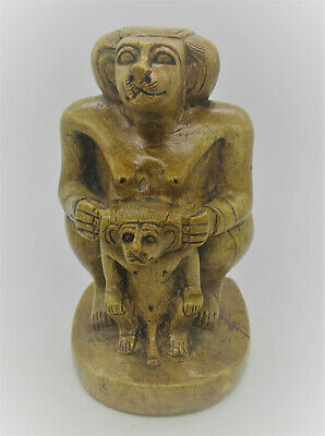 Beautiful Old Egyptian Glazed Stone Statue Thoth As A Baboon With Child