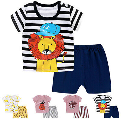 Baby Toddler Kids Boy Girl Cartoon Short-Sleeved T-shirt Tops + Shorts Outfits