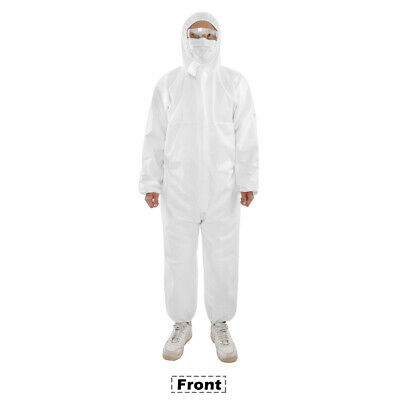 Disposable One-piece Elastic Wrist and Hood Coverall Isolation Garment White NEW