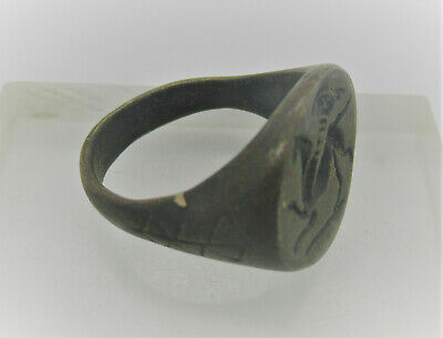 Late Roman Bronze Seal Ring Depicting Griffin On Bezel Ca 400-500Ad European
