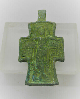 Circa 600 - 700 Ad Ancient Byzantine Bronze Crusaders Cross Pendant Wearable