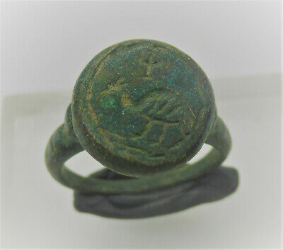 Detector Finds Ancient Roman Bronze Seal Ring With Eagle On Bezel