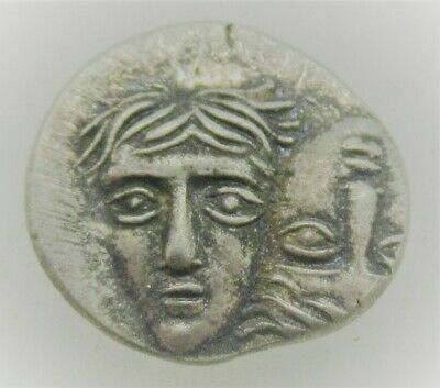Very Fine Ancient Greek Ar Silver Hemidrachm Coin Istros Twins