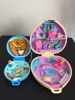 Vintage Polly Pocket BlueBird 1992 /94 Mini Jewel Blue Compact & Larger Compact