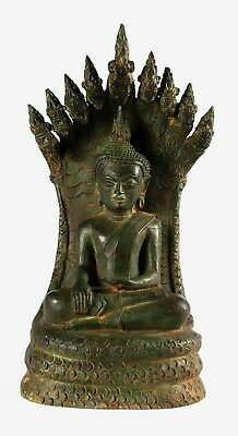 Antique Laos Style Southeast Asia Enlightenment Naga Buddha Statue - 32cm/13""