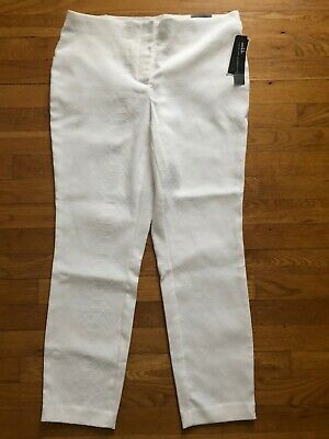NWT Alfani Womens Size 12 Ankle Pants White Textured Comfort Waist Stretch