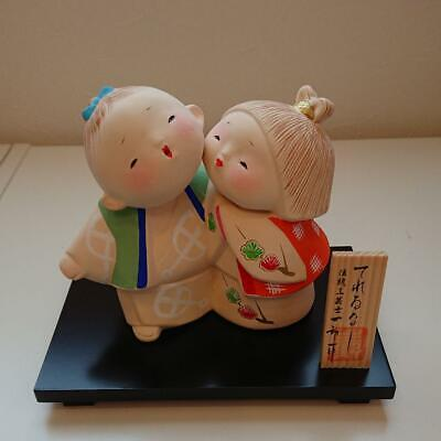 "Japanese Hakata Doll Porcelain Kimono Boy & Girl on wooden plate 4.7""(12cm)"