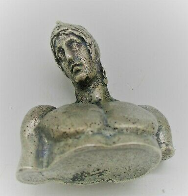 Circa 200 - 300 Ad Ancient Roman Silver Bust Statue Of A Gladiator