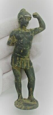 Superb Ancient Roman Bronze Military Gladiator Statuette Circa 300 - 400 Ad