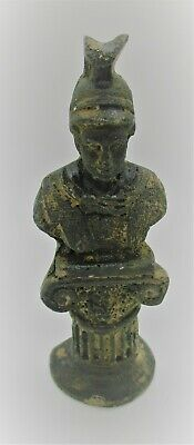 Ancient Roman Bronze Statuette Bust Of A Gladiator On Pillar Circa 200 - 300 Ad