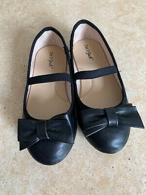Cat /& Jack Toddler Girls Cacey Bow Ballet Flats Navy Blue Silver Slip On Size 12