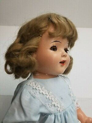 "Shirley Temple Vintage Ideal Composition Doll 20"" 1930s Blonde Mohair Wig"